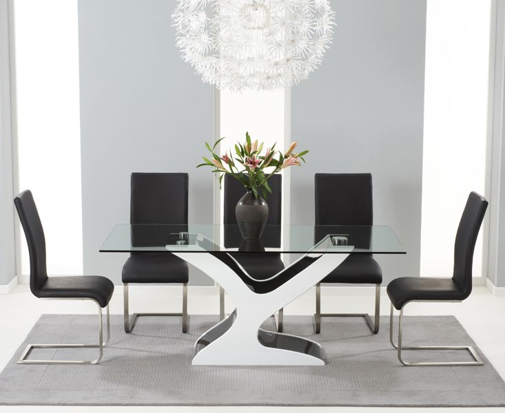 Buy the Nevada 180cm Black and White High Gloss and Glass Dining