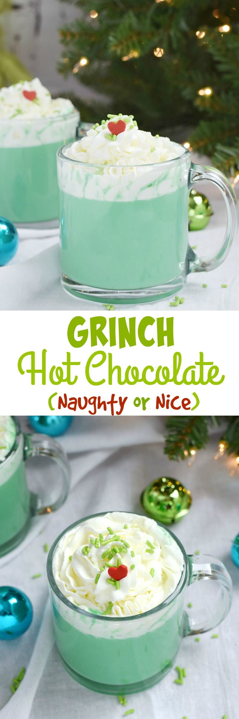 Would you like your Grinch Hot Chocolate served Naughty or Nice? You get to decide how everyone in the family gets to warm up this holiday season | cookingwithcurls.com