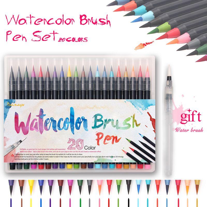 20 Farben/Set Premium Malerei Weichen Pinsel Stifte Aquarell Copic ...