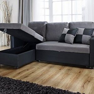 Rio L Shape Sofa With Pull Out Sofa Bed In Black And Grey Living