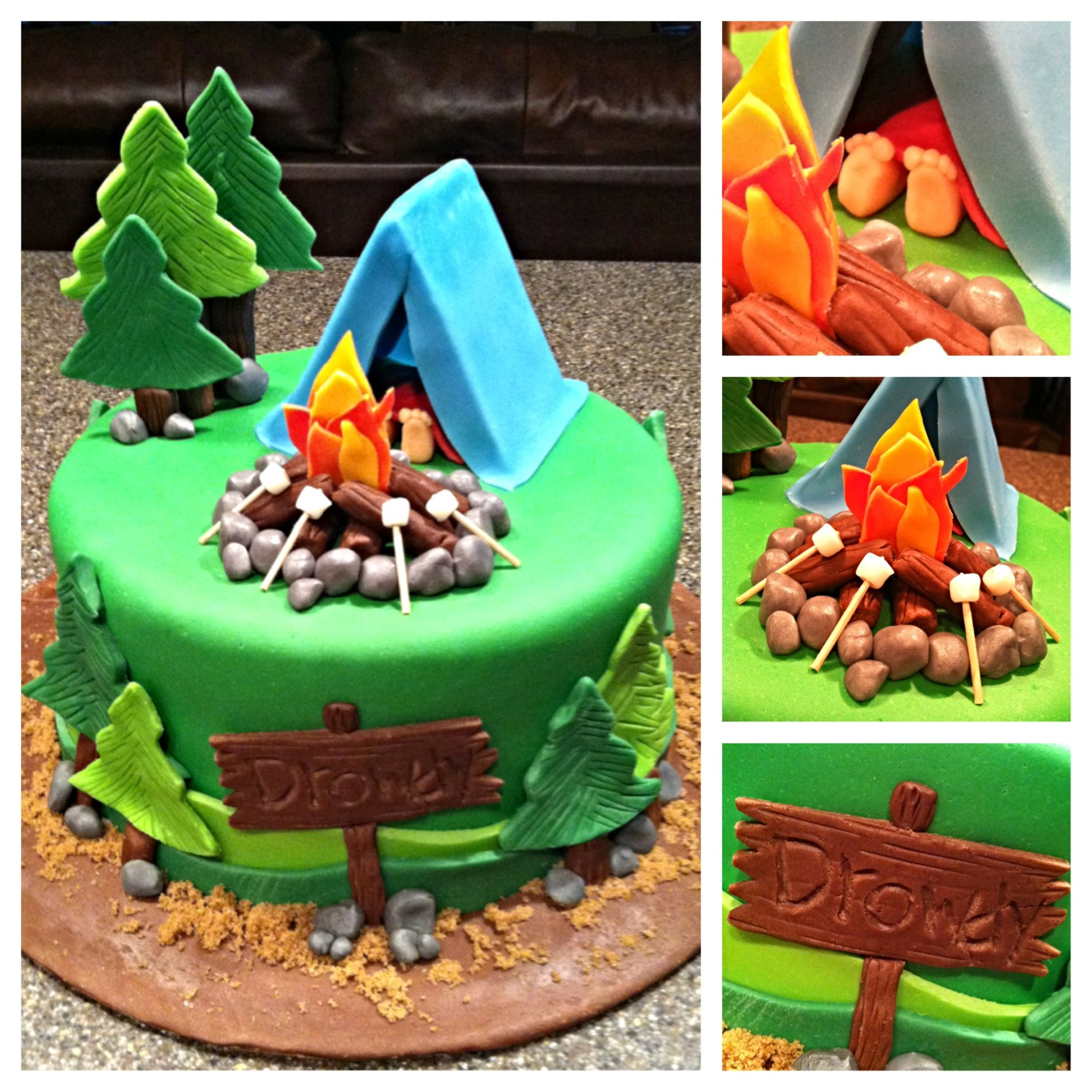 Terrific Camping Cake Camping Birthday Cake Camping Cakes Cake Personalised Birthday Cards Cominlily Jamesorg