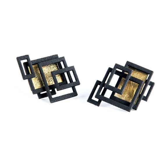 Black with Gold 3D Printed Open Square Studs