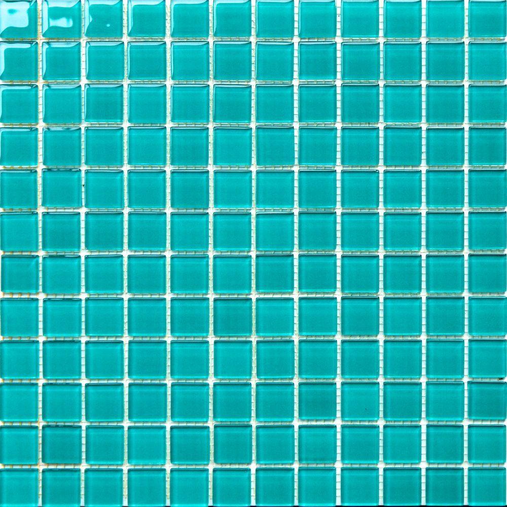 1x1 turquoise green pool glass mosaic
