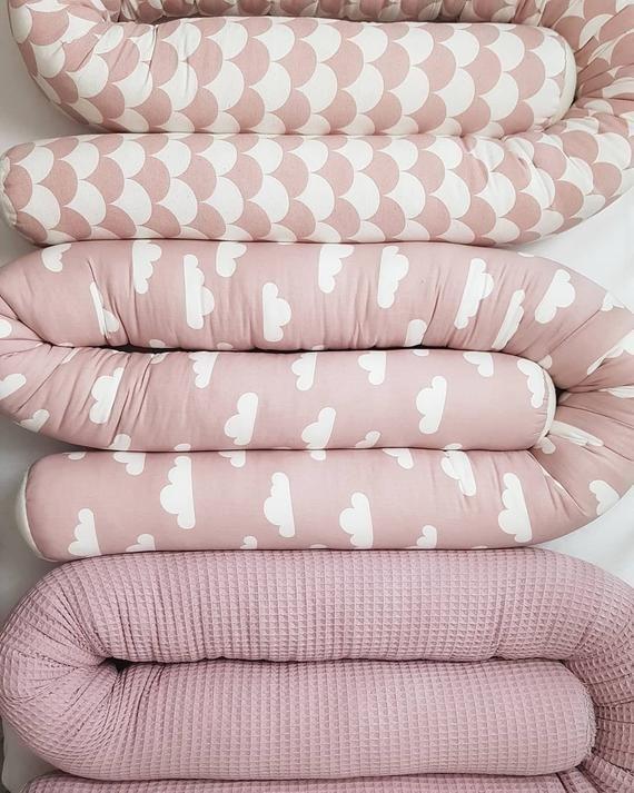 Bettschlange Wolken Altrosa Grau Etsy Baby Pillow Case Pillow Cases Diy Kids Pillow Cases