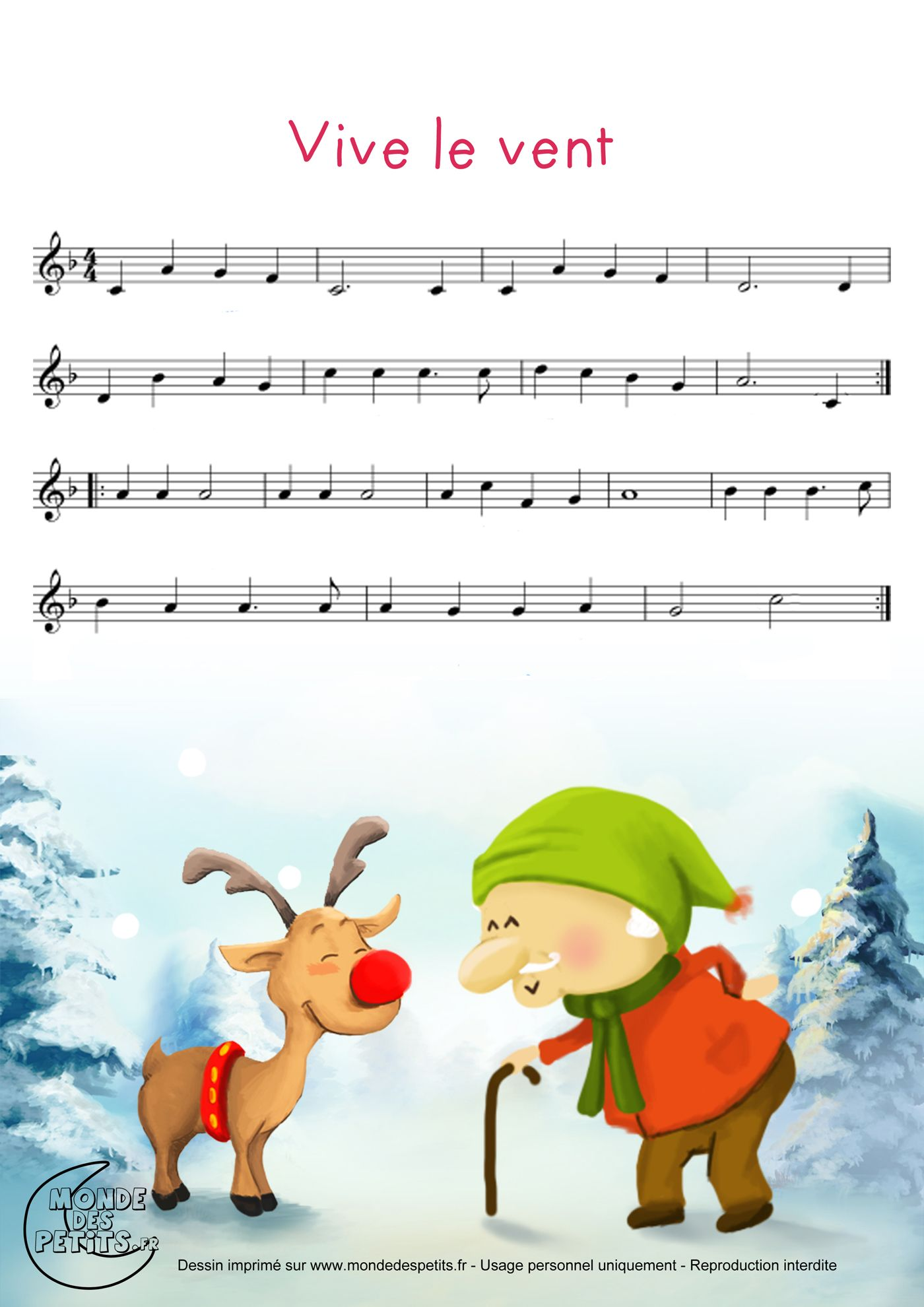 Partitionvive Le Vent Chanson De Noel En 2019 Piano Sheet Music