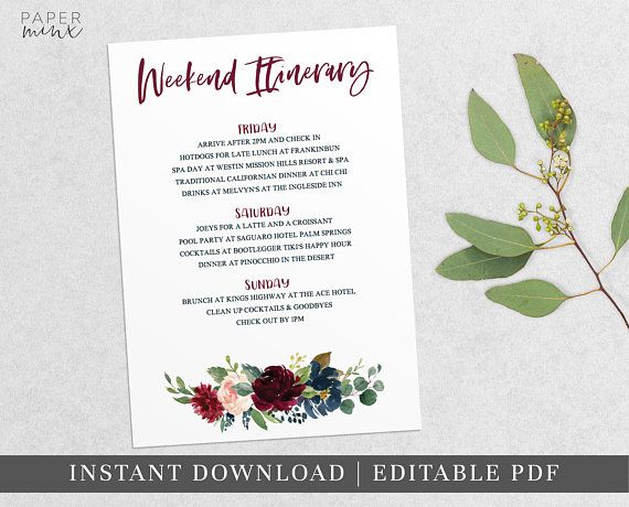 Burgundy Floral Weekend Itinerary Itinerary Template Editable - birthday itinerary template
