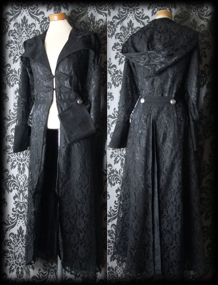Gothic Long Black Lace REQUIEM Wide Collar Hooded Coat 14 16 Vintage Victorian - £65.00