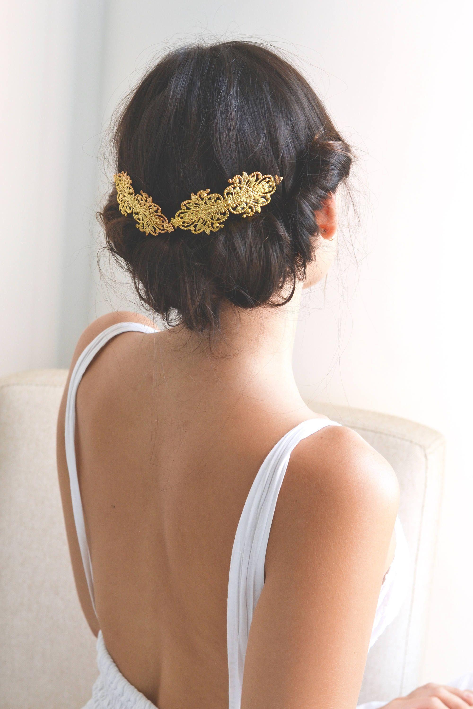 grande vente au rabais fournisseur officiel mode Bijou cheveux doré mariage. Lot 2 barrettes, peigne, épingle ...