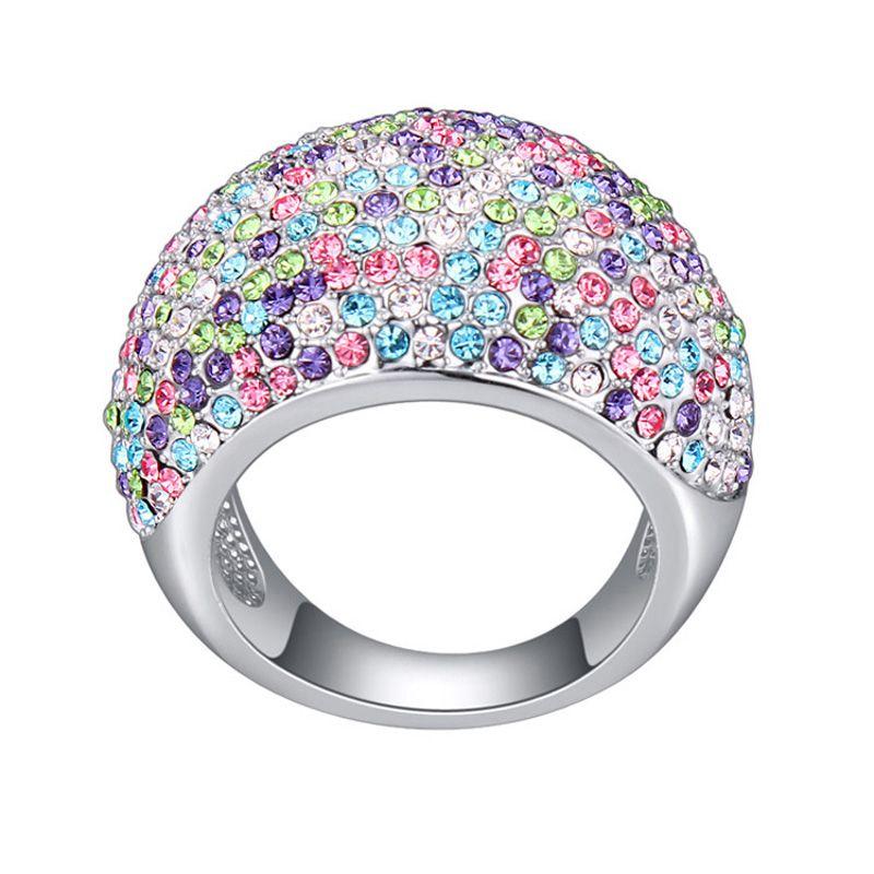 2017 Maxi Ringen Rhodium Plated Party Accessoires voor Vrouwen Mode-sieraden Cocktail Ring Hoge Kwaliteit Kristallen Uit Oostenrijkse