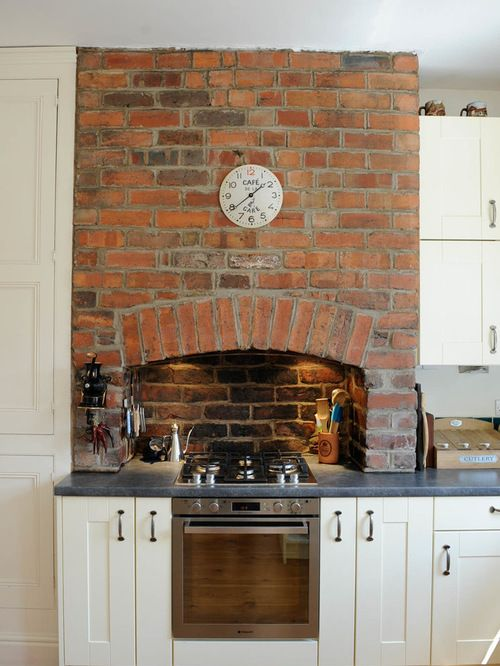 I Love The Brick Fireplace Thats Been Incorporated Into Kitchen Especially With Lights In Chimney