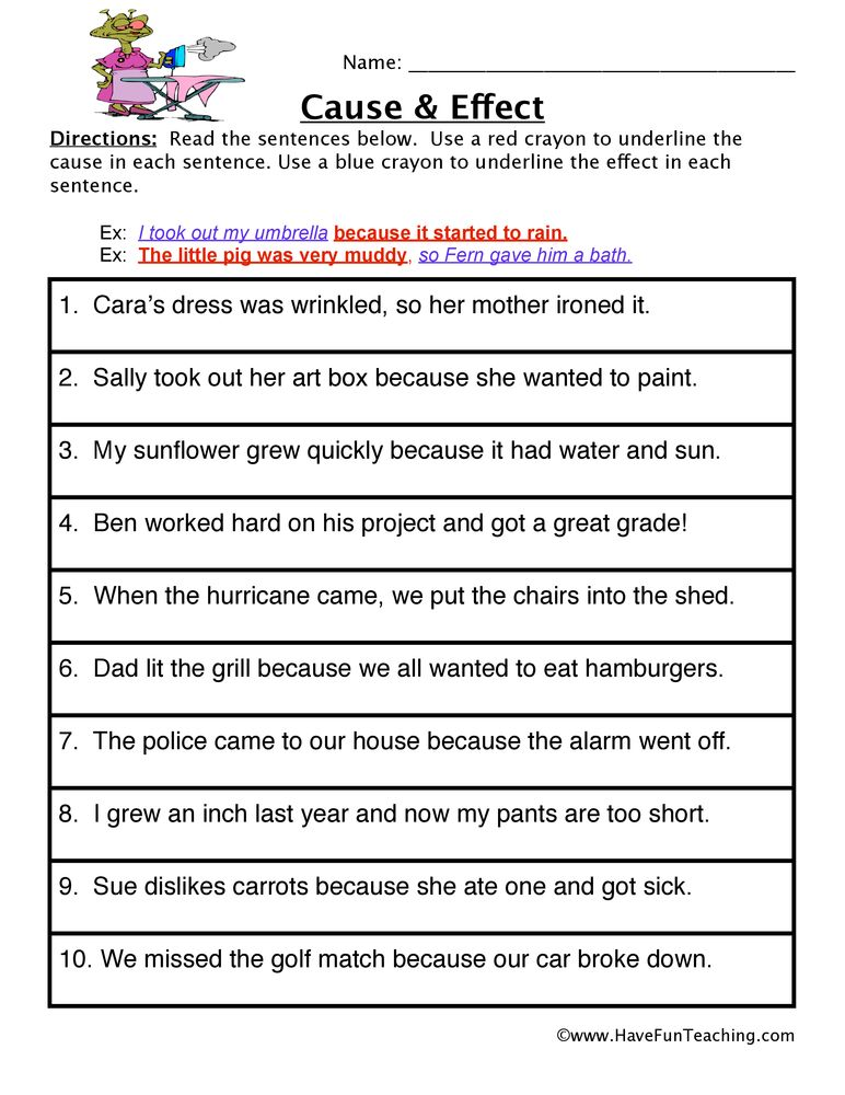 Cause and Effect Worksheet | 4th grade ideas | Pinterest | Cause and ...