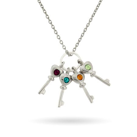 Sterling Silver Custom 4 Birthstone Key Charms Mother's Necklace  @starlightcg and rest of family, this is cute, $38!! Too cheap???