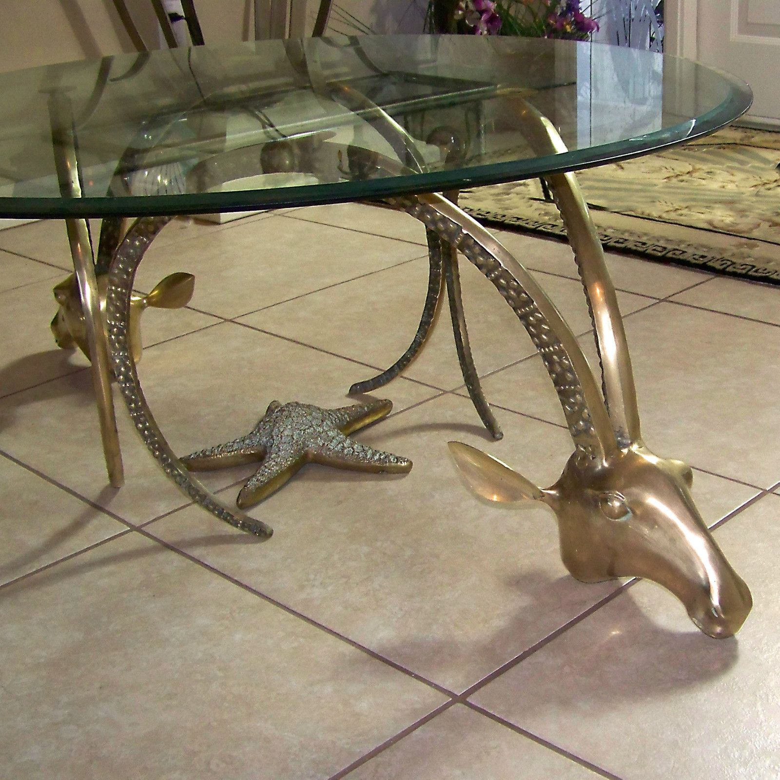 VINTAGE BRASS GAZELLE RAMS HEAD COFFEE/OCCASIONAL TABLE BASE  TWO PIECES