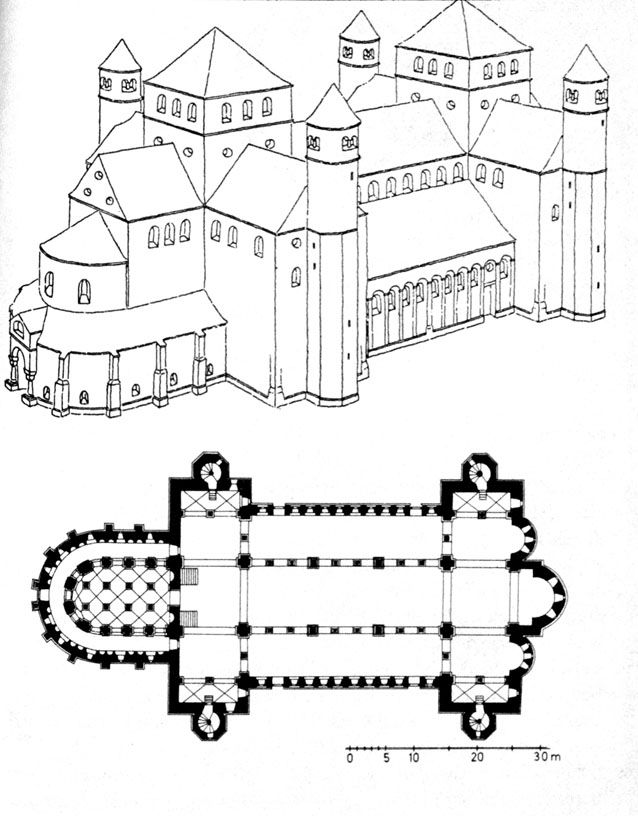 saint michael u0026 39 s  reconstruction view  u0026 plan ottonian  ca  1015 ce hildesheim  germany