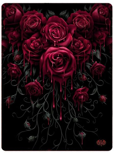 """Blood Rose"" Fleece Blanket by Spiral USA (Black) 