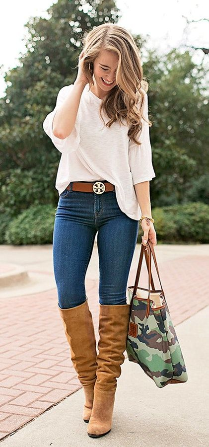 brown boots light blue jeans white.top womens