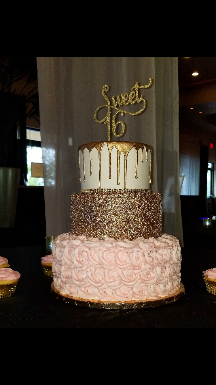 Pink and Gold Sweet 16 cake #sweet16birthdayparty Pink and Gold Sweet 16 cake #sweet16birthdayparty