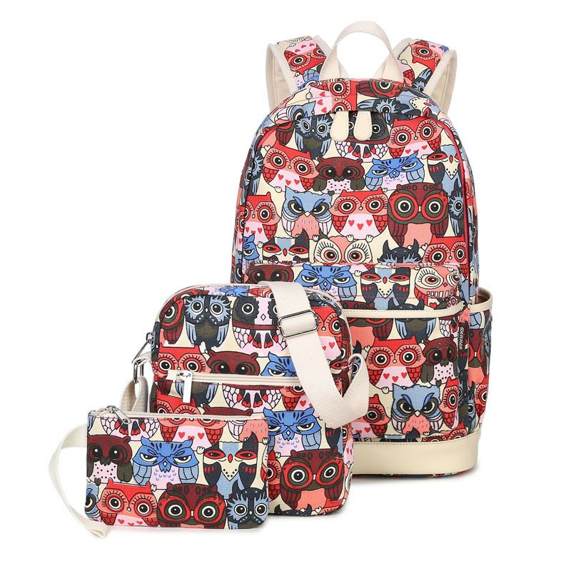 1064a4068ef 3pcs Set Backpack Women Animal Owl Printing Backpack Canvas Bookbags School  Backpacks Bags for Teenage