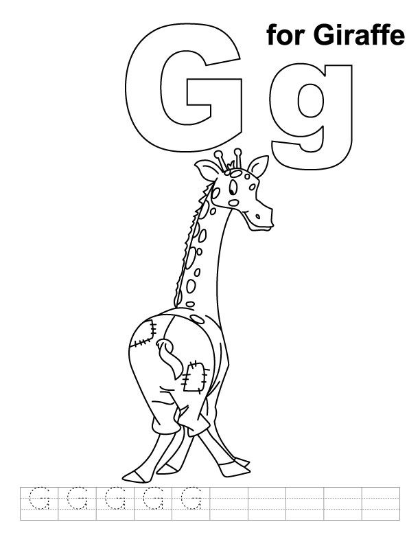 G For Giraffe Coloring Page With Handwriting Practice Giraffe