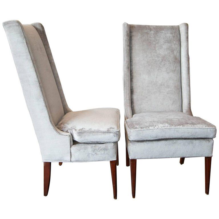 High Backed Wing Chairs In Grey Velvet High Back Dining Chairs Wing Chair Chair