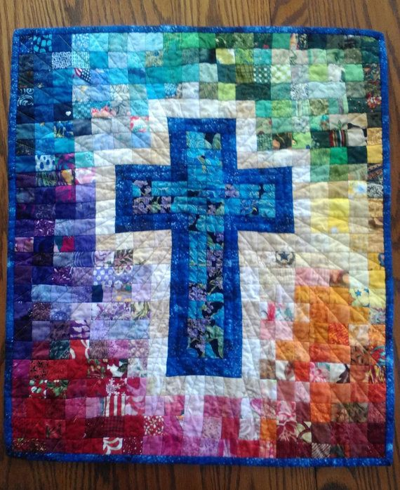 Wall Hanging Quilt Patterns quilt pattern, watercolor rainbow religious cross, christian faith