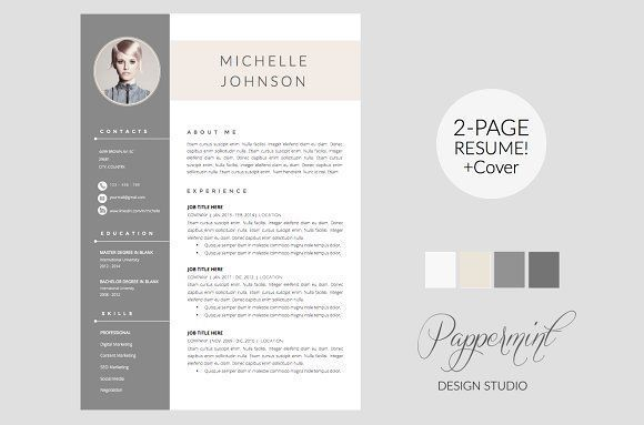 Resume Template  Cover Letter Word  Corporate Business Creative
