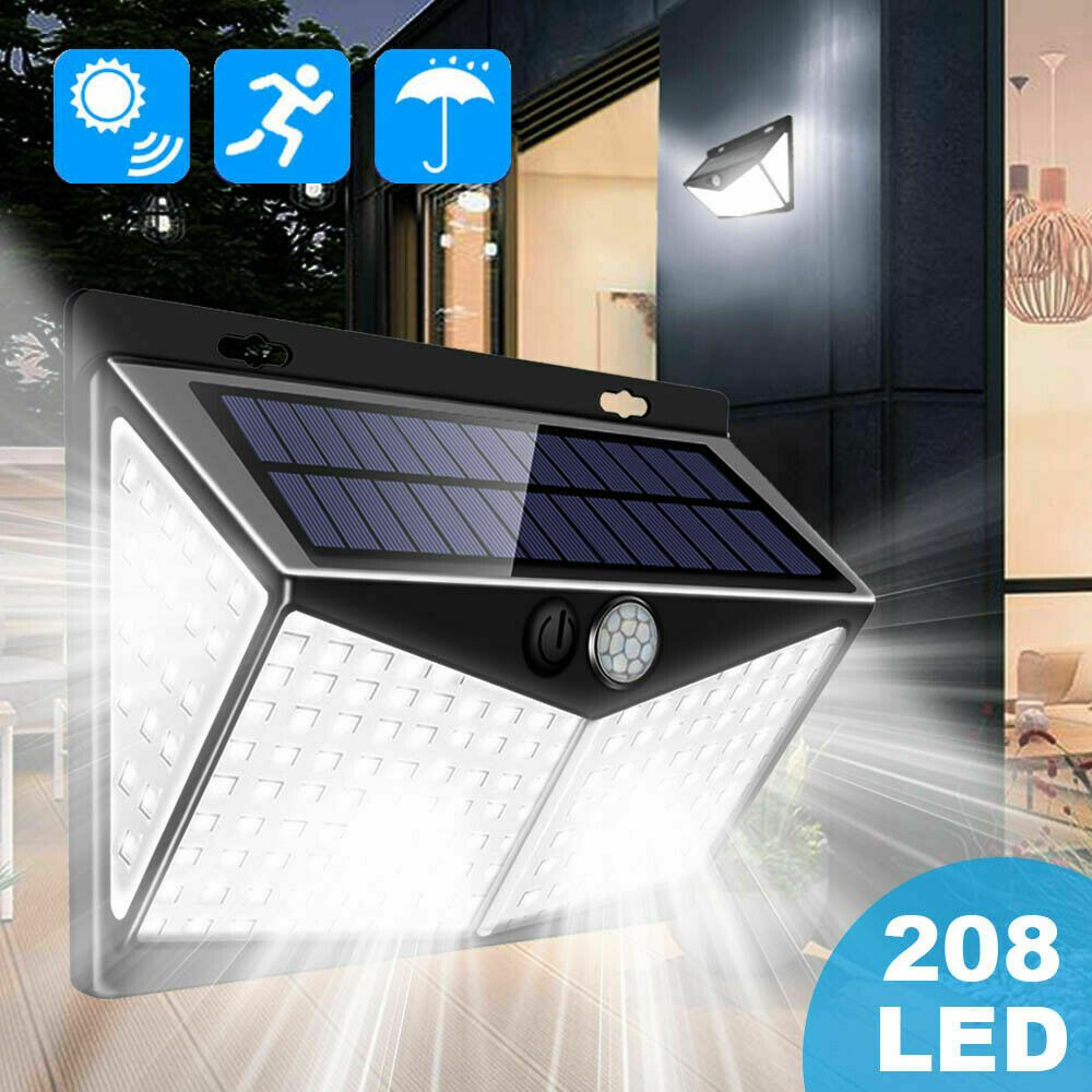 208 Led Solar Power Lights Pir Motion Sensor Wall Lamp Garden Waterproof Outdoor In 2020 Solar Powered Lights Outdoor Wall Lighting Solar Lamp