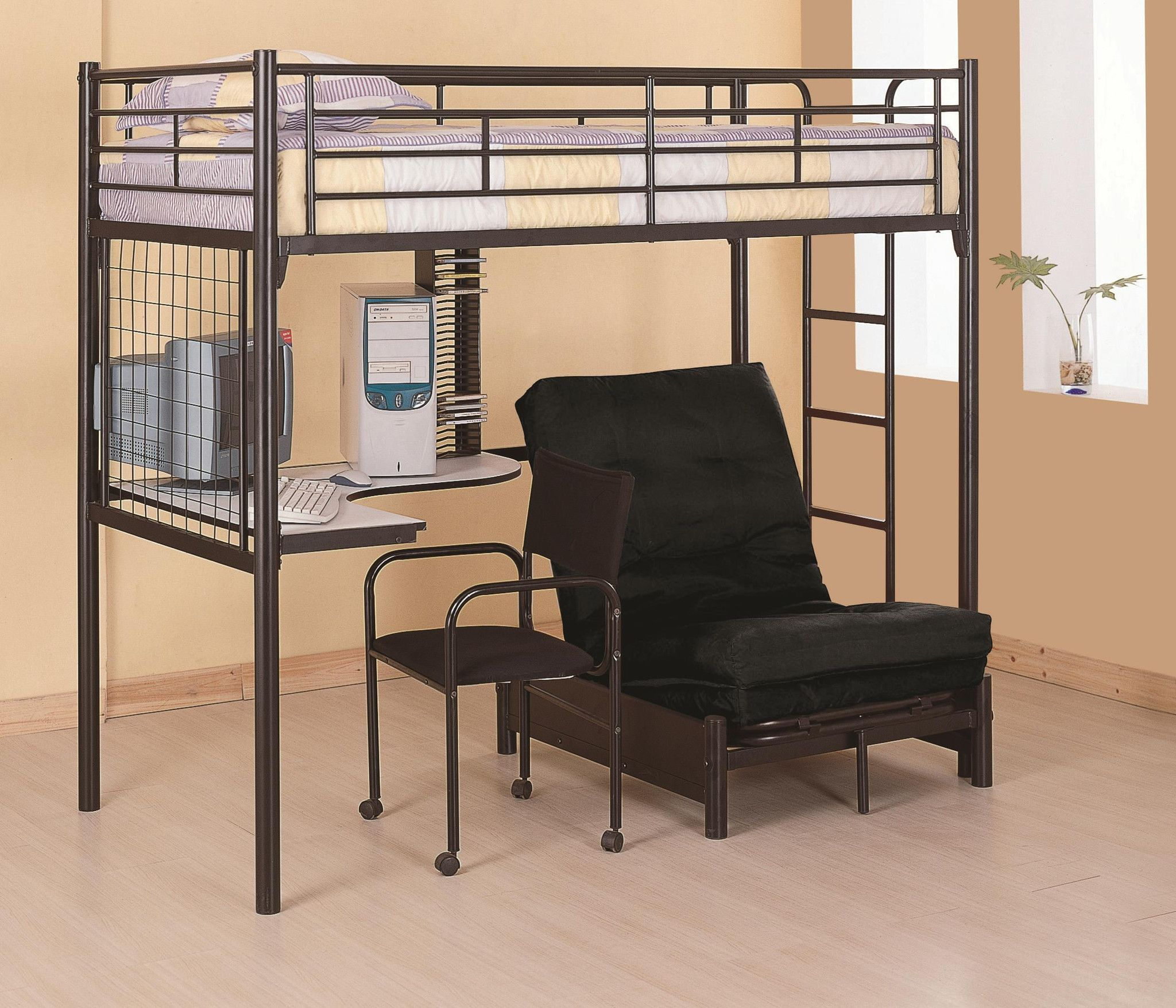 College Style WORKSTATION LOFT BED Study,Work and Sleep in