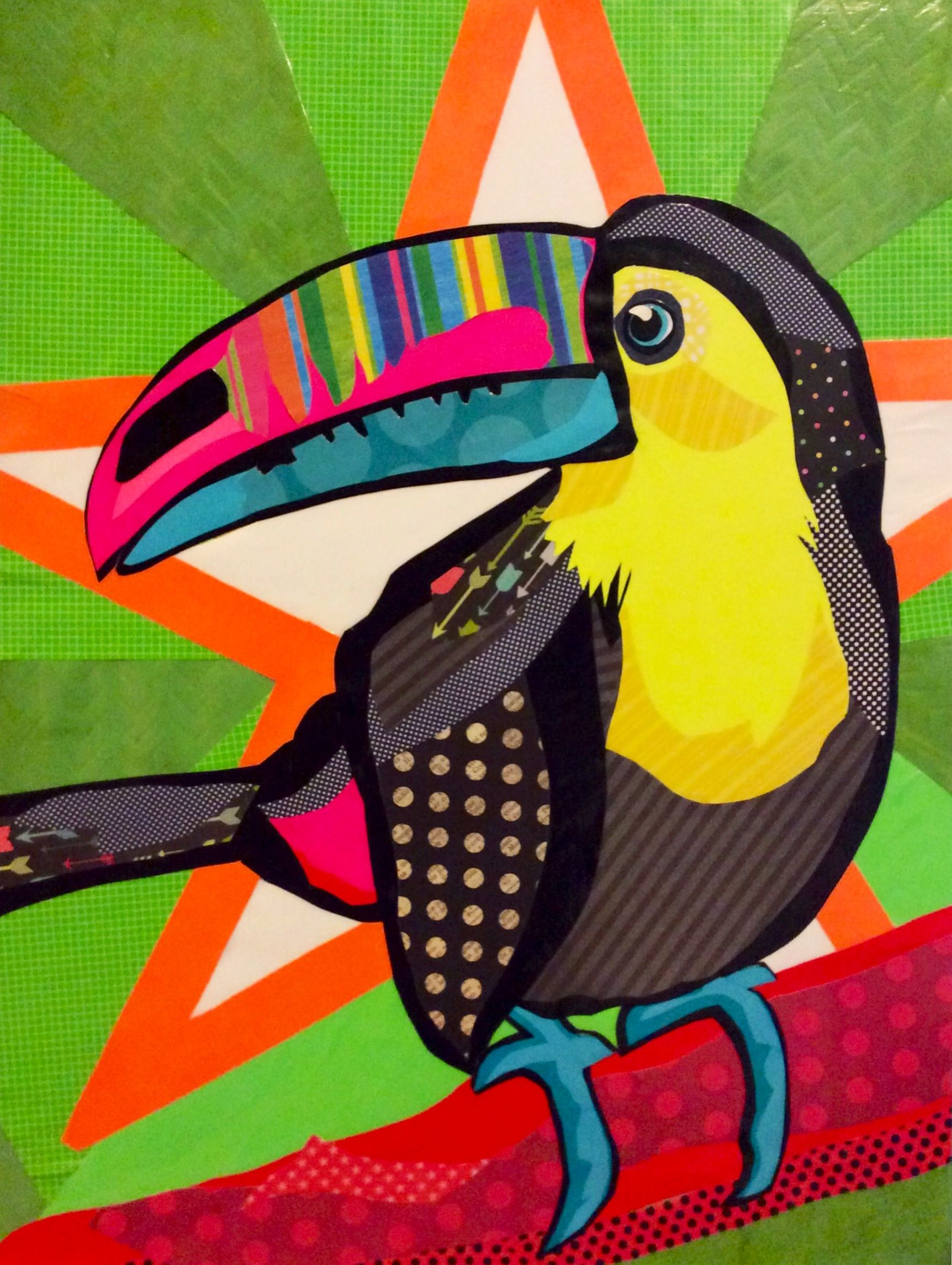 Scrapbook paper collage -  Toucan Do It Cut Paper Collage Art On 16 X20 Board