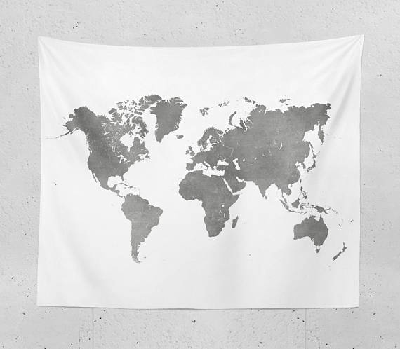 World Map Tapestry   Black and White Map of the World for Neutral
