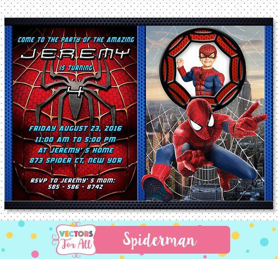 Spiderman Invitation Spiderman Party Spiderman Invite Spiderman