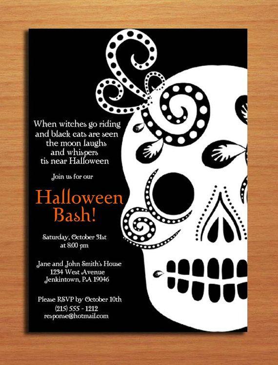 Sugar Skull Halloween Party Invitation Day Of The Dead Etsy Halloween Party Poster Halloween Party Invitations Halloween Themed Birthday Party