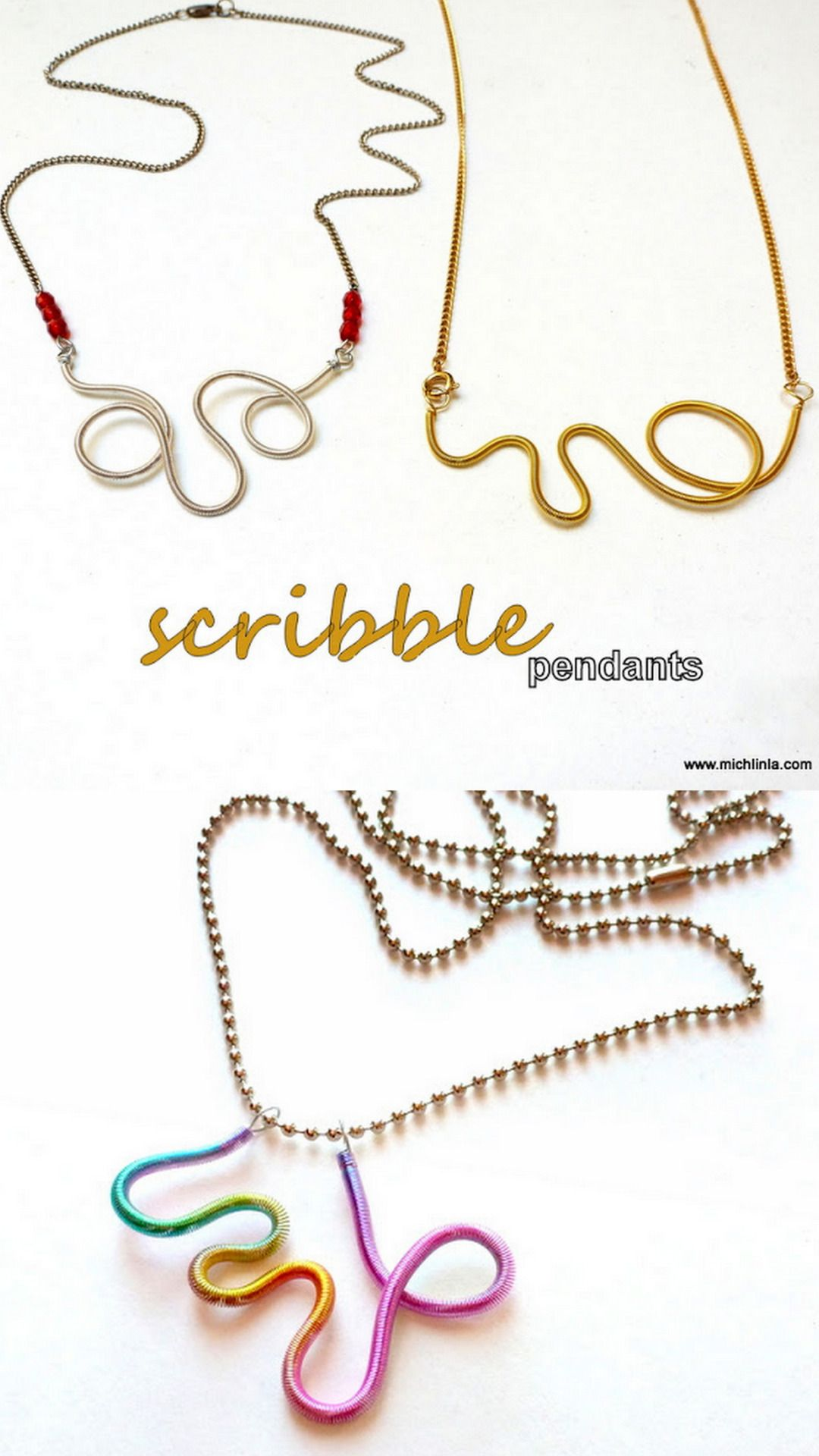Diy wire free form coil necklace tutorial from mich l in la here