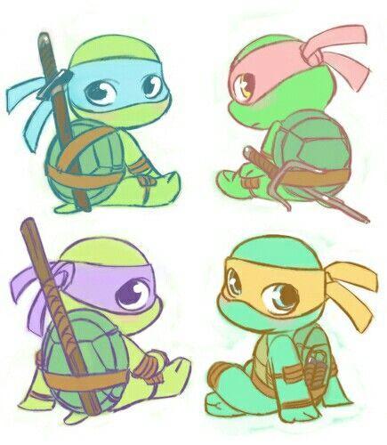 How to draw cute ninja turtles Donatello, Как нарисовать ... |Baby Ninja Turtles Drawings