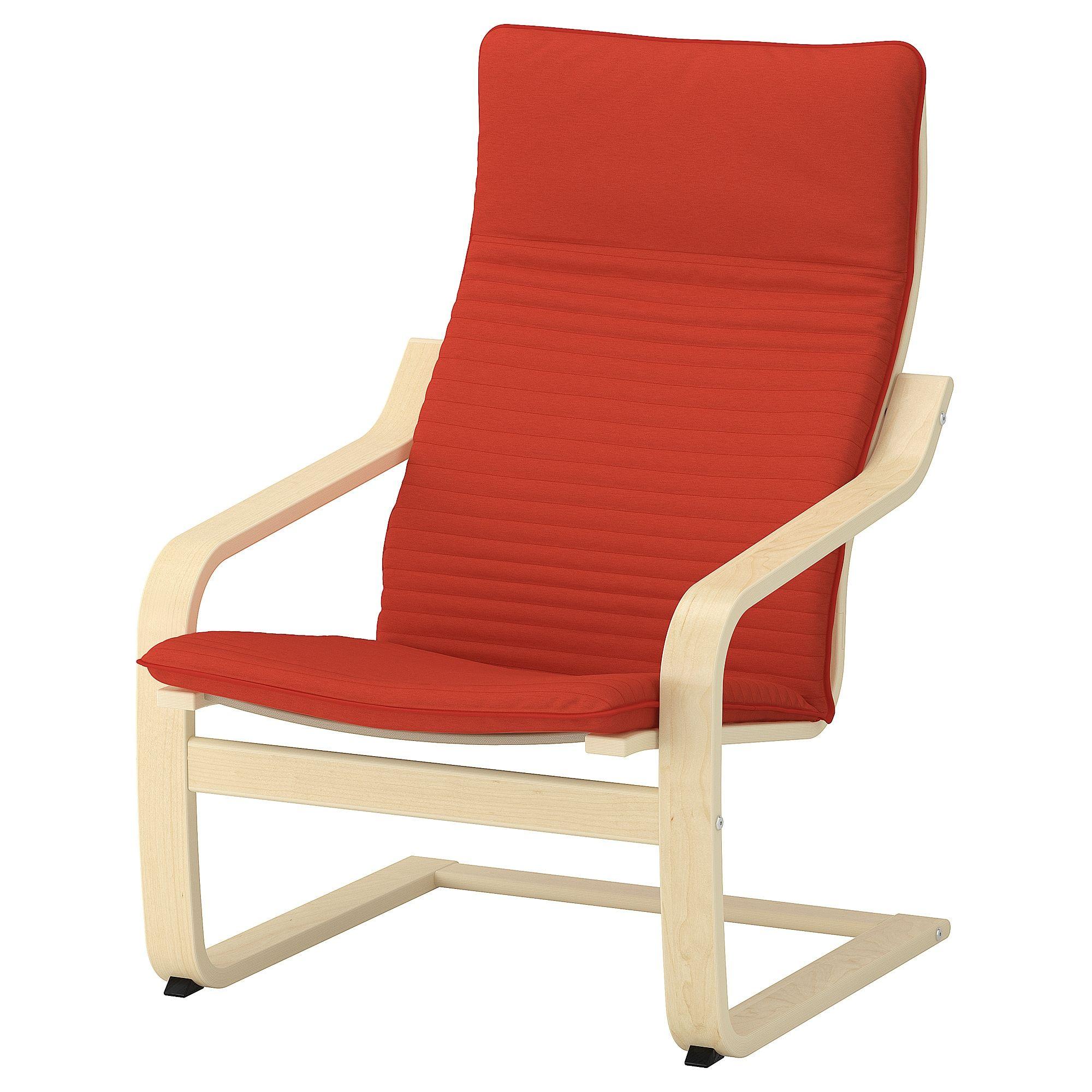 Ikea Poang Birch Veneer Knisa Orange Red Orange Armchair Ikea