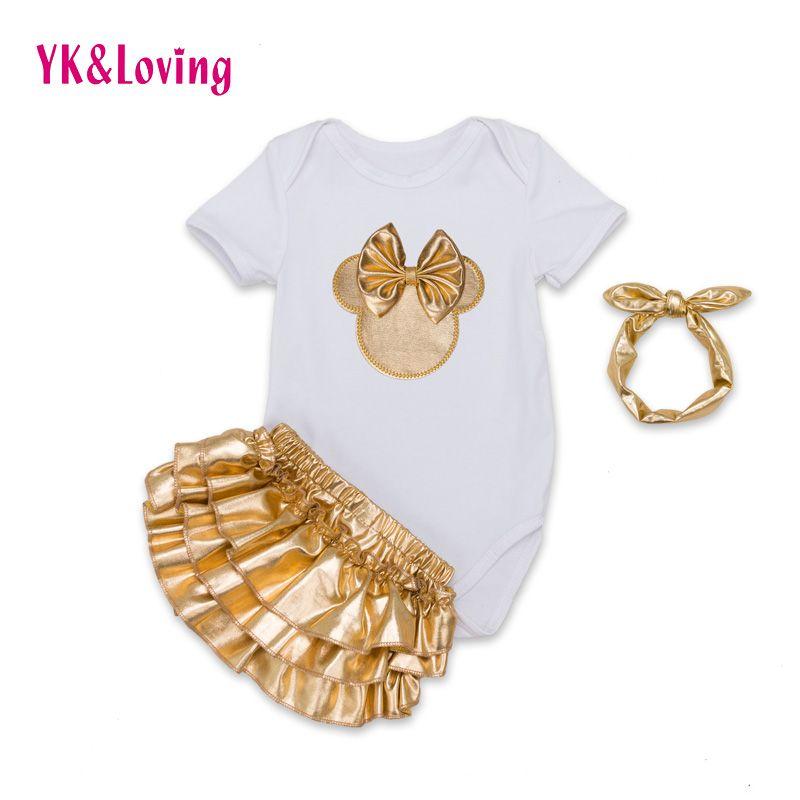Nieuwste Zuigeling Meisje Kleding 3 stks Sets Zwart Katoen Rompertjes Golden Ruche Bloeiers Shorts Hoofdband Baby Pasgeboren Kleding