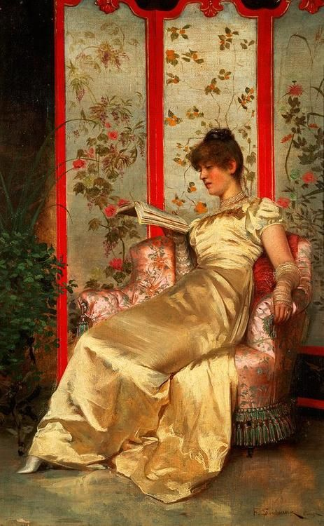 Lady Reading (mid 19th c).Charles Joseph Frederick Soulacroix (France, 1825-79).