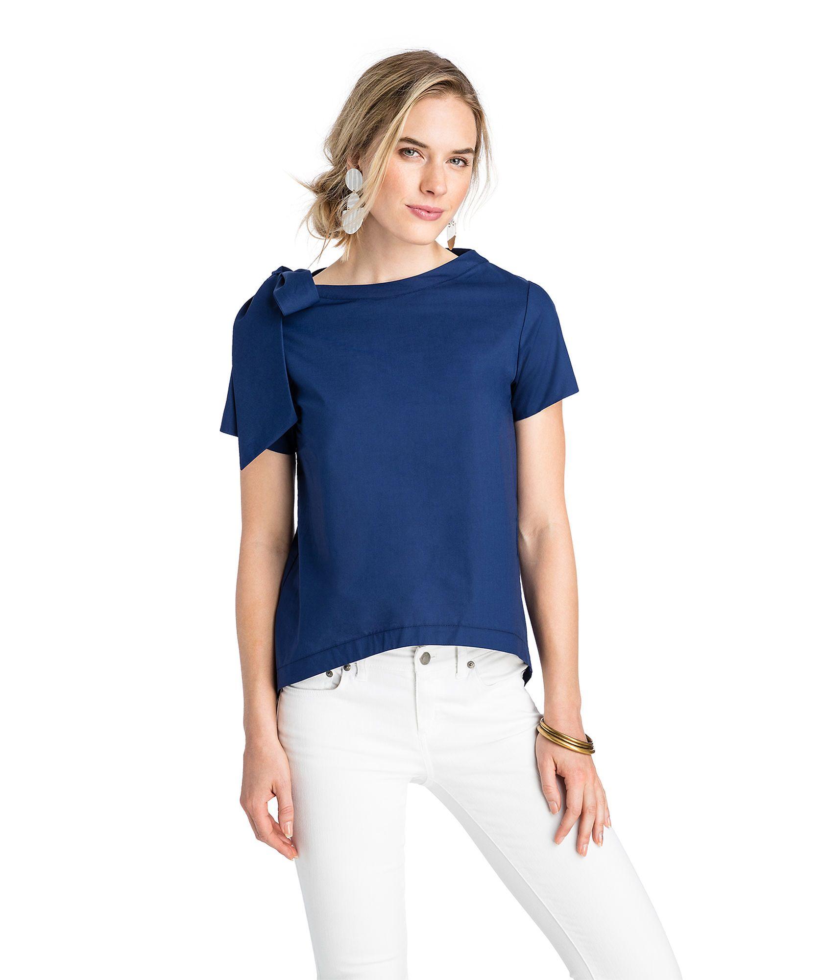 9194a94e64ba Short-Sleeve Bow Neck Top   Fashion File   Tops, One shoulder tops ...