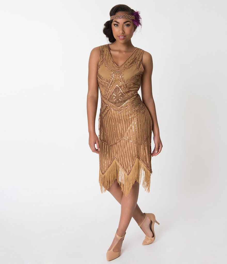 4f80809982f Unique Vintage 1920s Bronze Beaded Sequin Juliette Fringe Flapper Dress