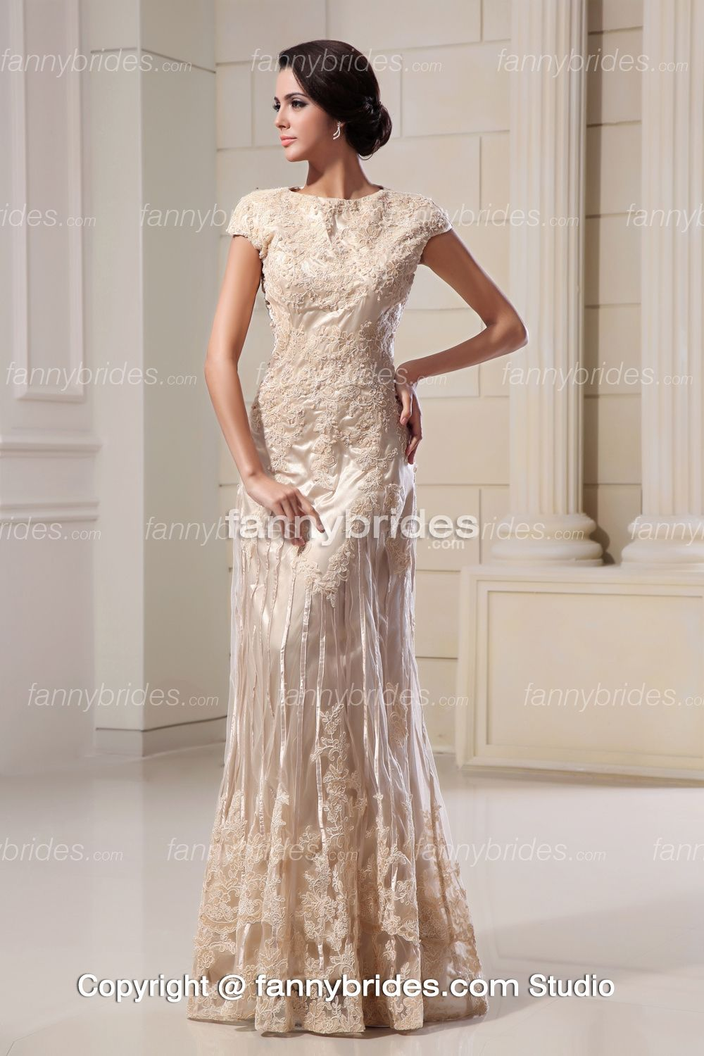 Short Sleeves Ivory Applique Long Princess Wedding Gown