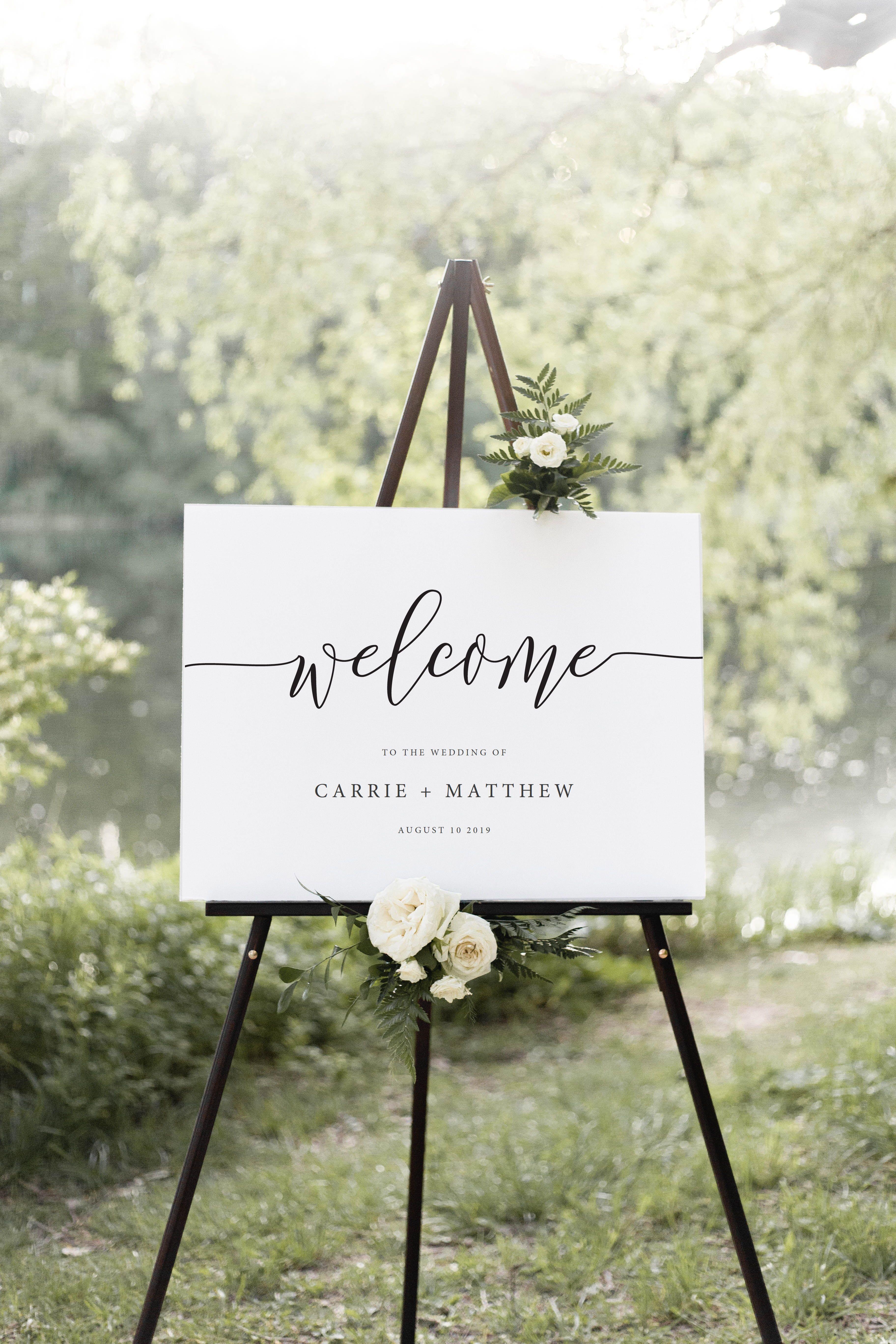 Editable Wedding Welcome Sign Template - Printable Wedding Welcome Sign - Rustic Elegance - Instant Download - PTC01