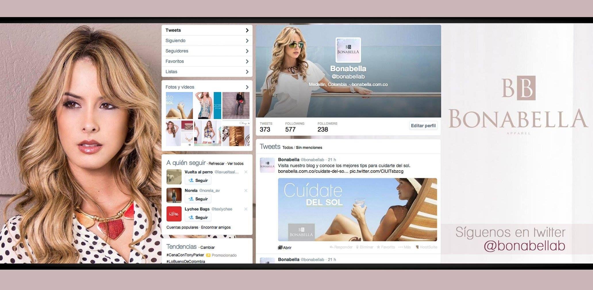 Estamos en twitter como @Bonabella, entérate de nuestras nuevas colecciones, tips de belleza y últimas tendencias en moda...