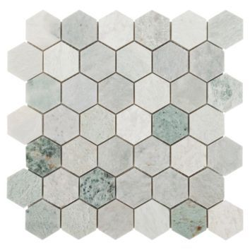 Caribbean Green Hexagon Tumbled Marble Mosaic Marble Mosaic Floor Decor Unique Tile