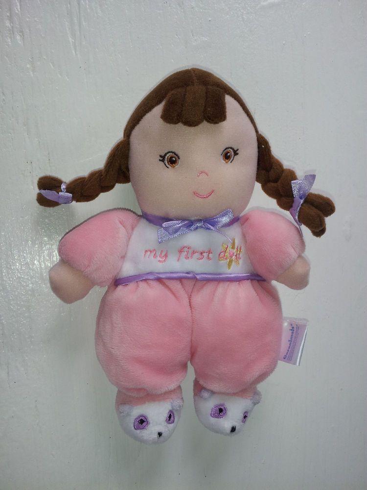 garanimals my first doll rattle toy tan brown hair pink pajamas soft