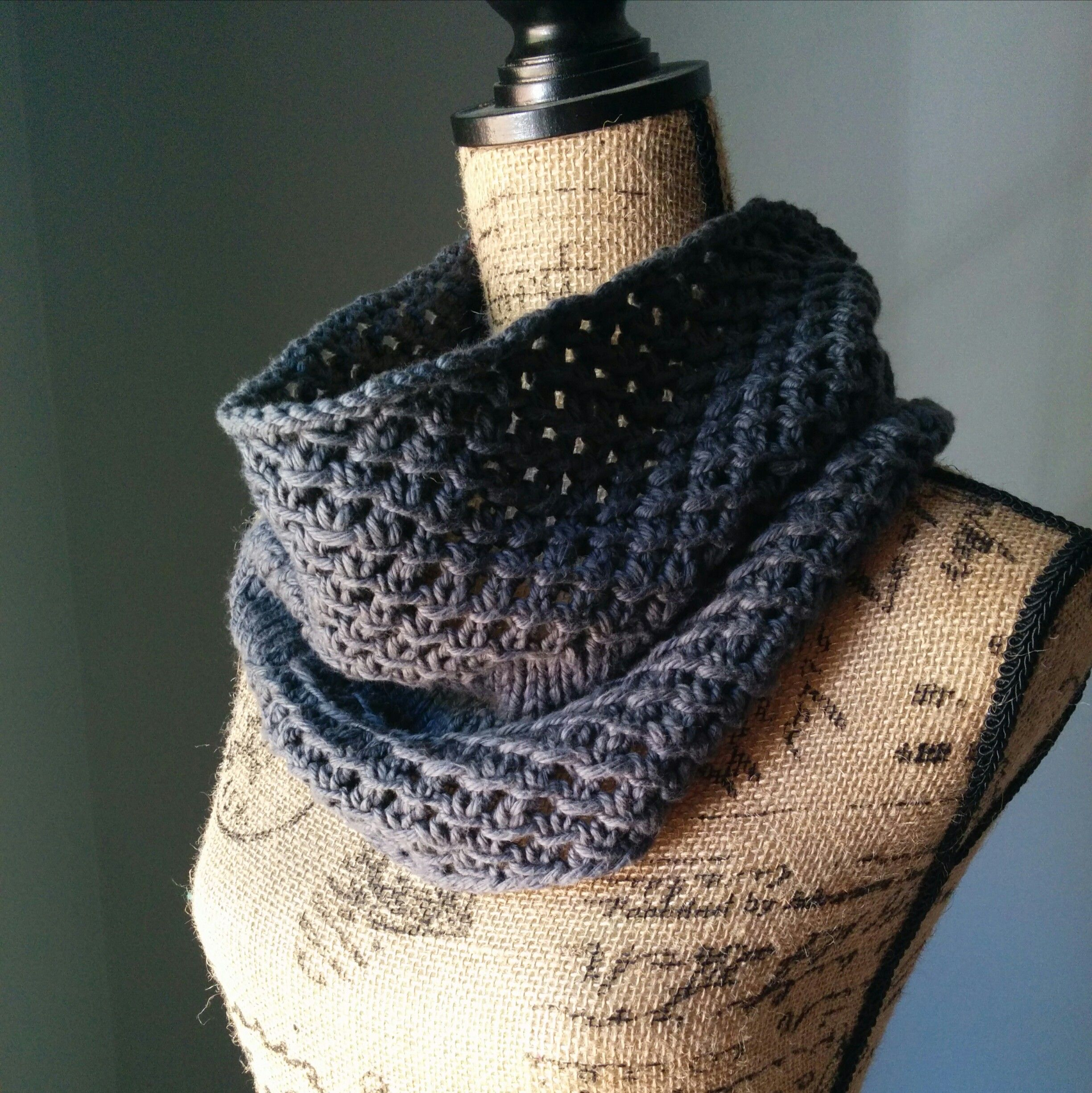 This cowl, called the Irish Mesh Cowl, was knitted previously using ...