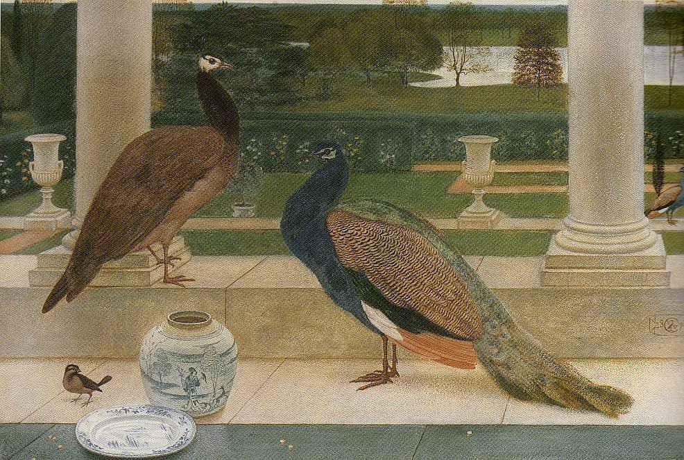 Peacocks. Walter Crane.