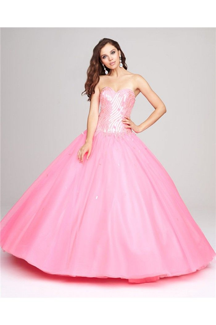 Ball Gown Sweetheart Pink Tulle Sequin Sparkly Corset Prom Dress ...