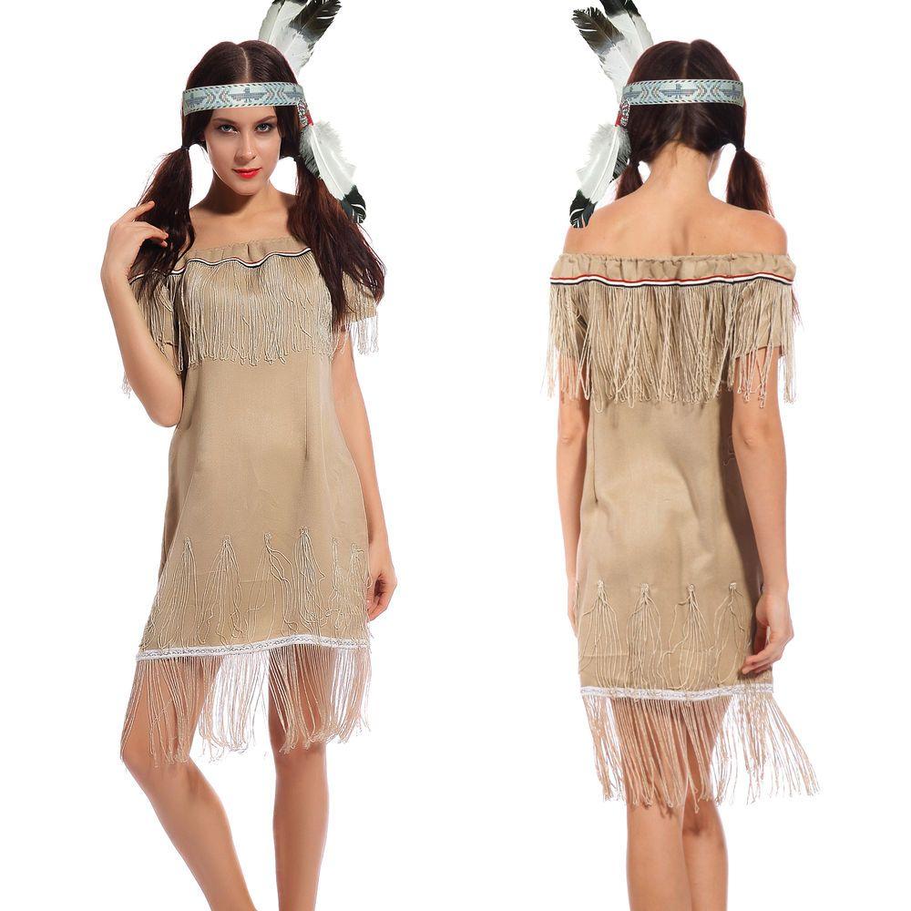 Erwachsene Damen Indianer Kostum Squaw Wilder Westen Karneval