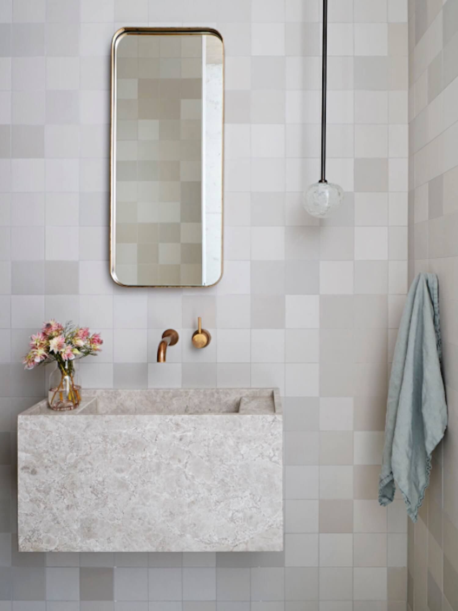 Powder Bath With Fireclay Square Tiles, Minimal Mirror And Pendant