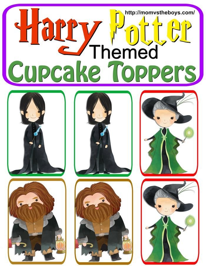 Harry Potter Themed Cupcake Toppers Free Printable Mom Vs The Boys Harry Potter Cupcake Toppers Cupcake Toppers Free Harry Potter Movie Night